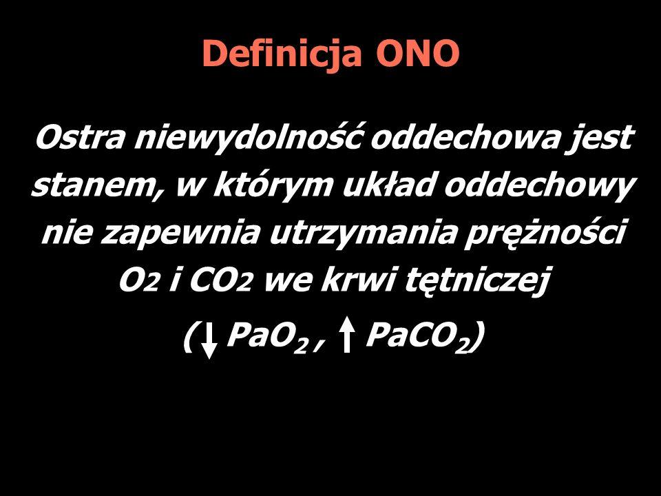 Definicja ONO Ostra niewydolność oddechowa jest stanem, w którym układ oddechowy nie zapewnia utrzymania prężności O 2 i CO 2 we krwi tętniczej ( PaO 2, PaCO 2 )