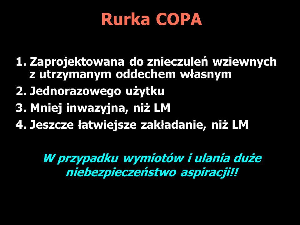 Rurka COPA 1.Zaprojektowana do znieczuleń wziewnych z utrzymanym oddechem własnym 2.