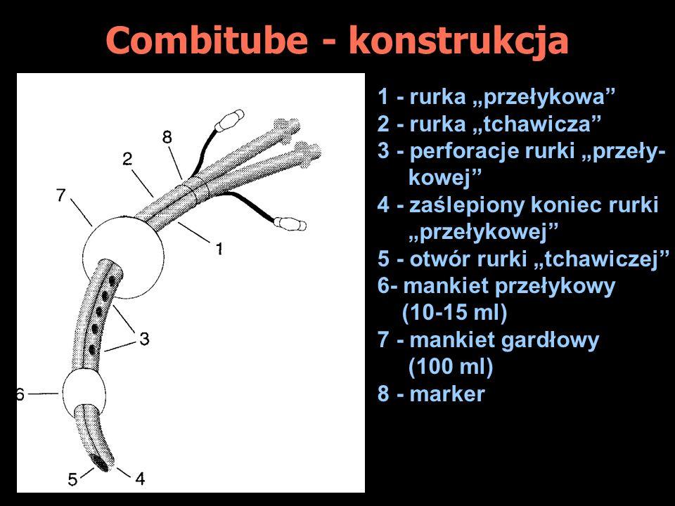 Combitube - konstrukcja 1 - rurka przełykowa 2 - rurka tchawicza 3 - perforacje rurki przeły- kowej 4 - zaślepiony koniec rurki przełykowej 5 - otwór rurki tchawiczej 6- mankiet przełykowy (10-15 ml) 7 - mankiet gardłowy (100 ml) 8 - marker