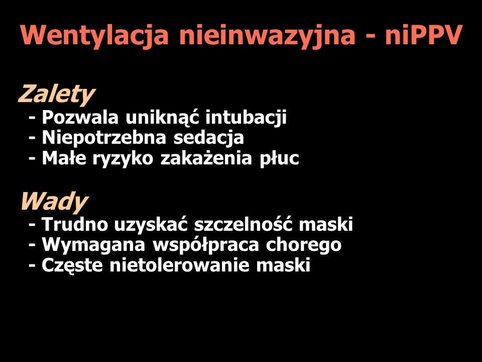 Wentylacja nieinwazyjna - niPPV Zalety - Pozwala uniknąć intubacji - Niepotrzebna sedacja - Małe ryzyko zakażenia płuc Wady - Trudno uzyskać szczelność maski - Wymagana współpraca chorego - Częste nietolerowanie maski