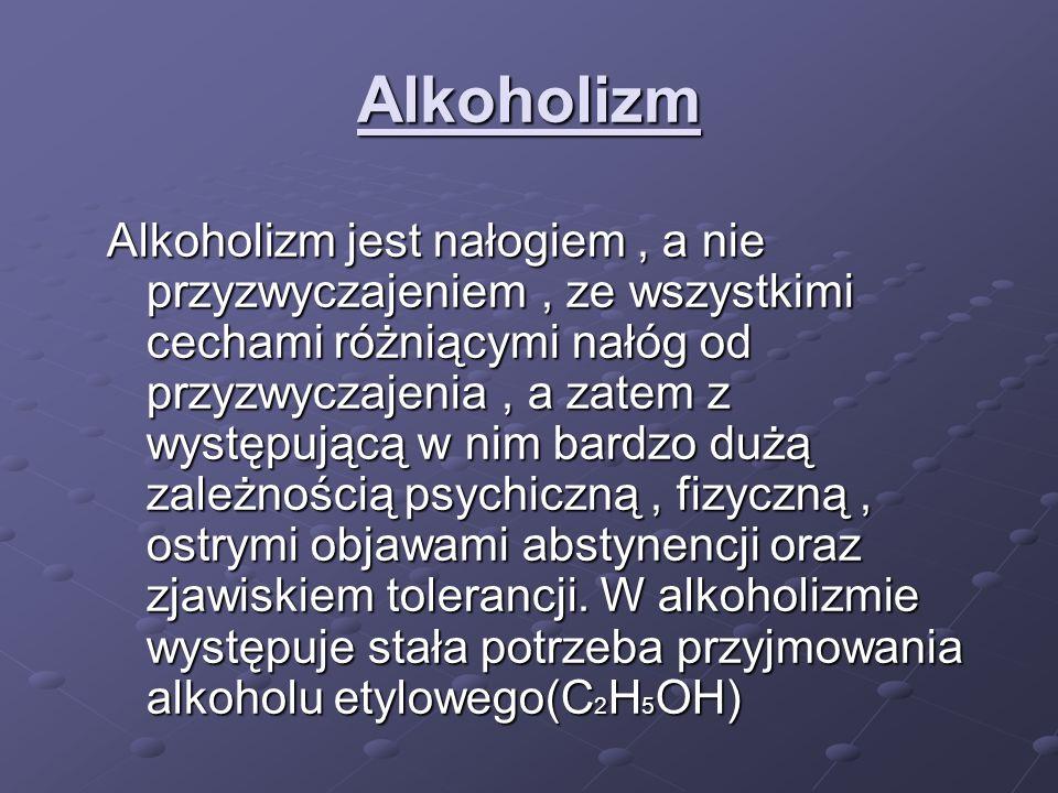 Alkoholizm Alkoholizm jest nałogiem, a nie przyzwyczajeniem, ze wszystkimi cechami różniącymi nałóg od przyzwyczajenia, a zatem z występującą w nim ba