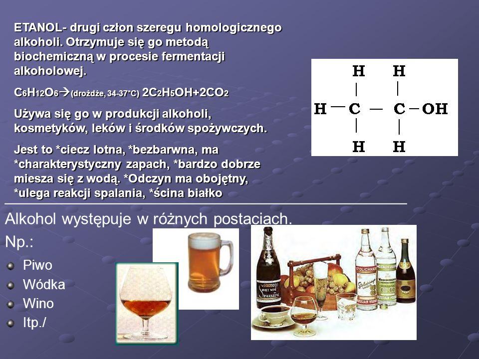 Piwo Wódka Wino Itp./ _____________________________________________ Alkohol występuje w różnych postaciach. Np.: ETANOL- drugi człon szeregu homologic