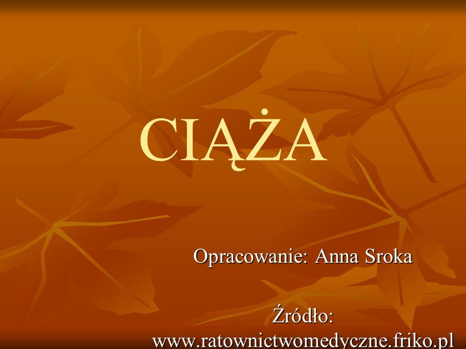 CIĄŻA Opracowanie: Anna Sroka Źródło: www.ratownictwomedyczne.friko.pl
