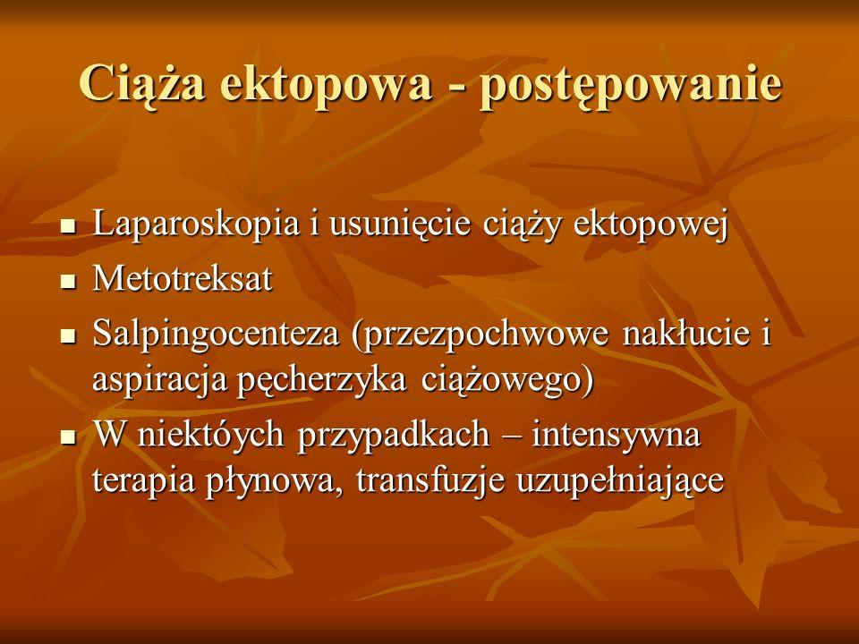 Ciąża ektopowa - postępowanie Laparoskopia i usunięcie ciąży ektopowej Laparoskopia i usunięcie ciąży ektopowej Metotreksat Metotreksat Salpingocentez
