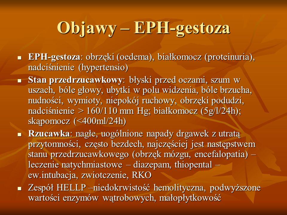 Objawy – EPH-gestoza EPH-gestoza: obrzęki (oedema), białkomocz (proteinuria), nadciśnienie (hypertensio) EPH-gestoza: obrzęki (oedema), białkomocz (pr
