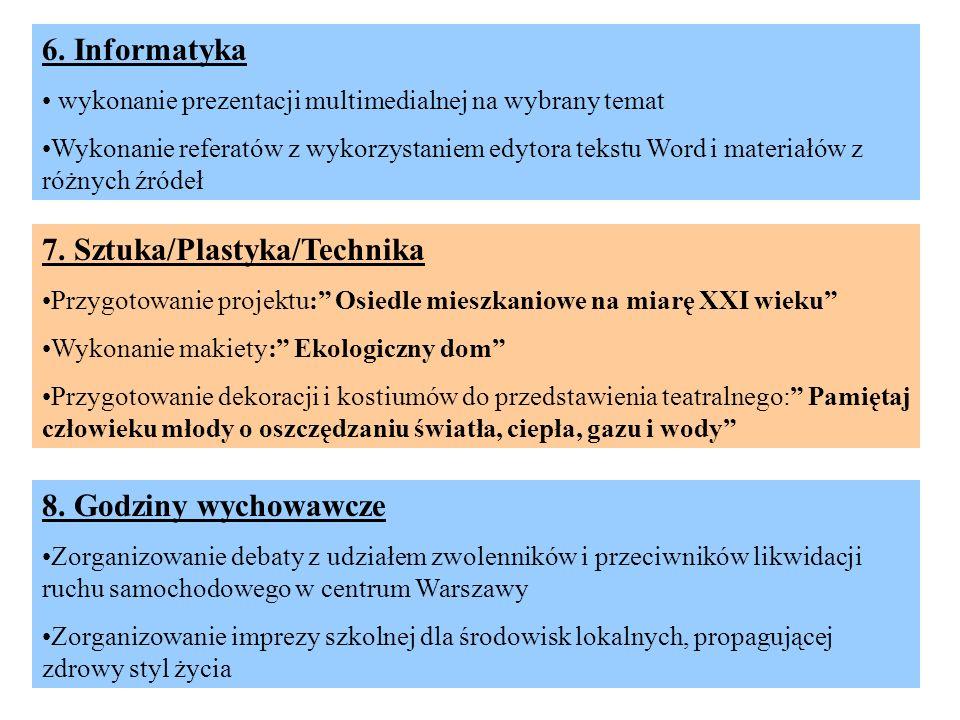 27 6. Informatyka wykonanie prezentacji multimedialnej na wybrany temat Wykonanie referatów z wykorzystaniem edytora tekstu Word i materiałów z różnyc
