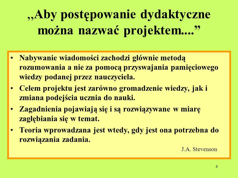 4 Aby postępowanie dydaktyczne można nazwać projektem.... Nabywanie wiadomości zachodzi głównie metodą rozumowania a nie za pomocą przyswajania pamięc