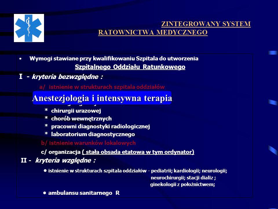 ZINTEGROWANY SYSTEM RATOWNICTWA MEDYCZNEGO Wymogi stawiane przy kwalifikowaniu Szpitala do utworzenia Szpitalnego Oddziału Ratunkowego I - kryteria be