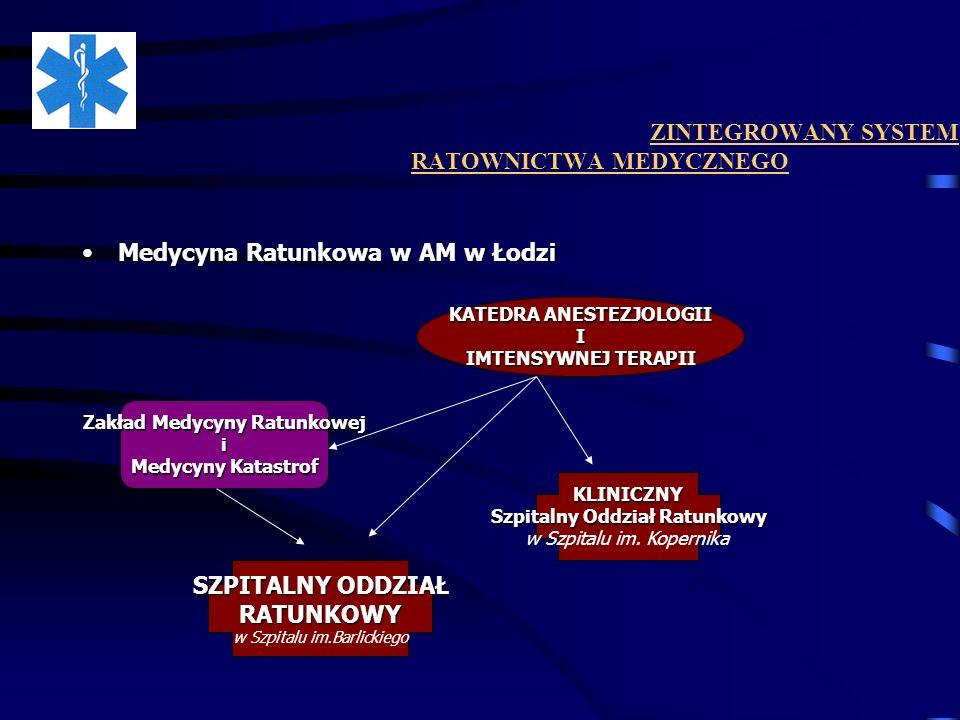 ZINTEGROWANY SYSTEM RATOWNICTWA MEDYCZNEGO Medycyna Ratunkowa w AM w ŁodziMedycyna Ratunkowa w AM w Łodzi Zakład Medycyny Ratunkowej i Medycyny Katast