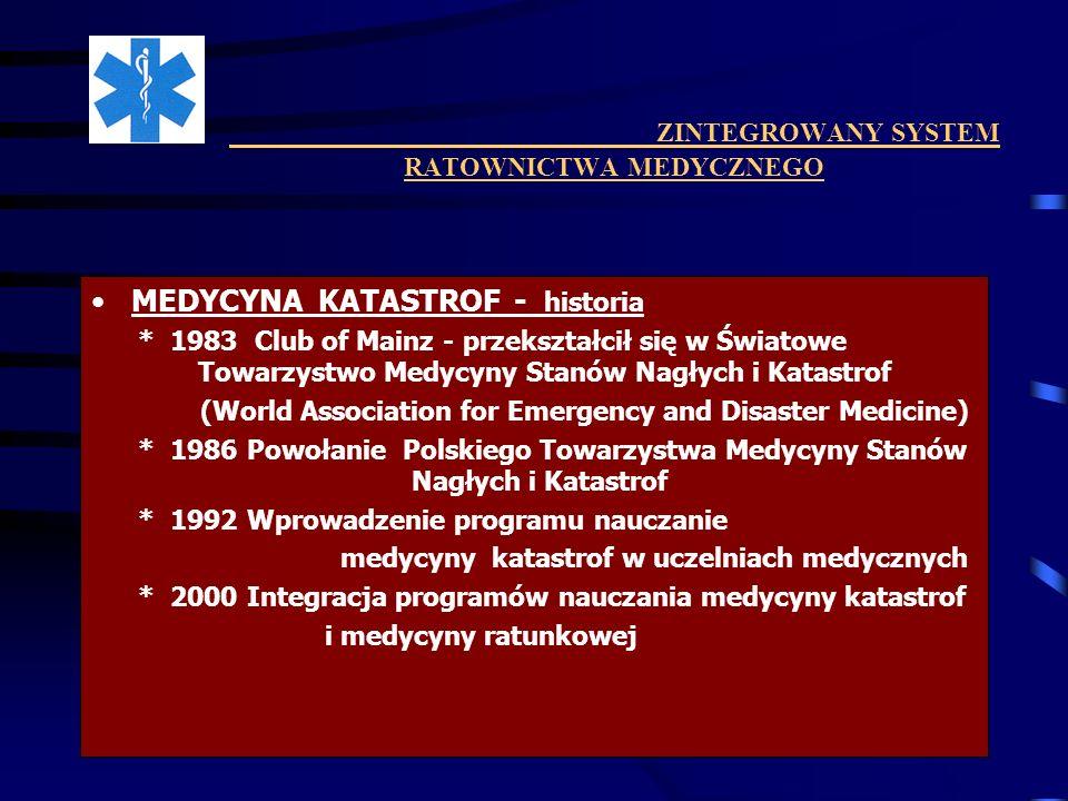 ZINTEGROWANY SYSTEM RATOWNICTWA MEDYCZNEGO MEDYCYNA KATASTROF - historia * 1983 Club of Mainz - przekształcił się w Światowe Towarzystwo Medycyny Stan