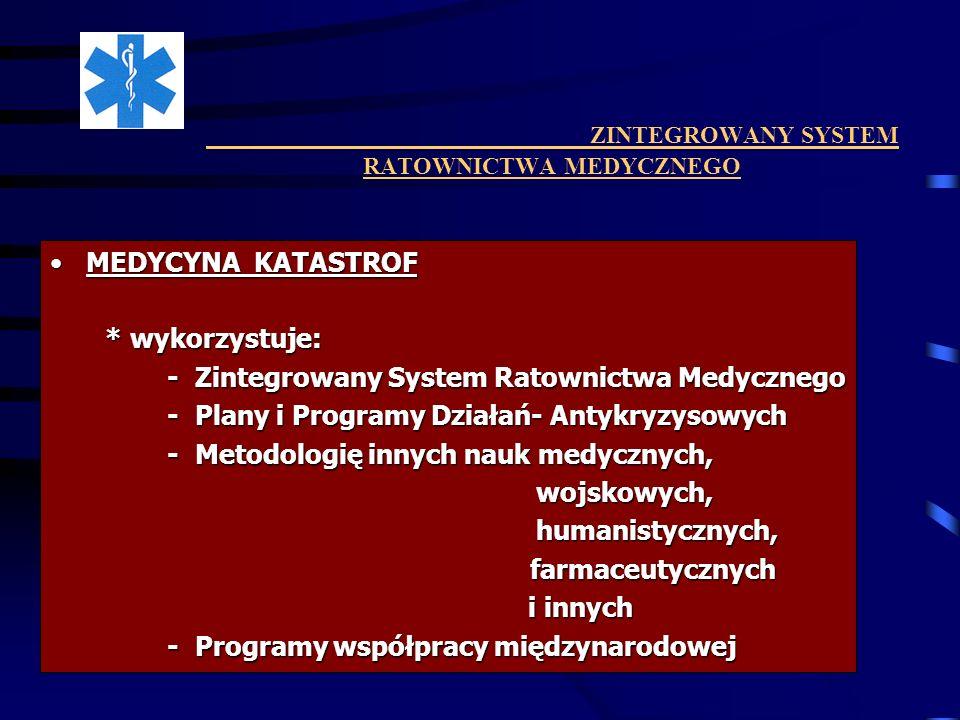 ZINTEGROWANY SYSTEM RATOWNICTWA MEDYCZNEGO MEDYCYNA KATASTROFMEDYCYNA KATASTROF * wykorzystuje: * wykorzystuje: - Zintegrowany System Ratownictwa Medy