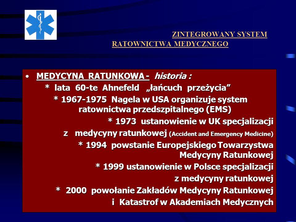 ZINTEGROWANY SYSTEM RATOWNICTWA MEDYCZNEGO SZPITALNY ODDZIAŁ RATUNKOWYSZPITALNY ODDZIAŁ RATUNKOWY * Zadania Oddziału : * Zadania Oddziału : - zahamowanie procesów patofizjologii śmierci wczesnej - zahamowanie procesów patofizjologii śmierci wczesnej - szybkie, wczesne określenie rozmiaru zagrożenia, uszkodzenia, - szybkie, wczesne określenie rozmiaru zagrożenia, uszkodzenia, zranienia ( szybka diagnostyka) zranienia ( szybka diagnostyka) - zahamowanie rozwijania się wstrząsu - zahamowanie rozwijania się wstrząsu - leczenie bólu okołourazowego - leczenie bólu okołourazowego - podjęcie decyzji o dalszym leczeniu specjalistycznym - podjęcie decyzji o dalszym leczeniu specjalistycznym ( ewentualne rozpoczęcie tego leczenia) ( ewentualne rozpoczęcie tego leczenia) - przygotowanie pacjenta do dalszych etapów leczenia.