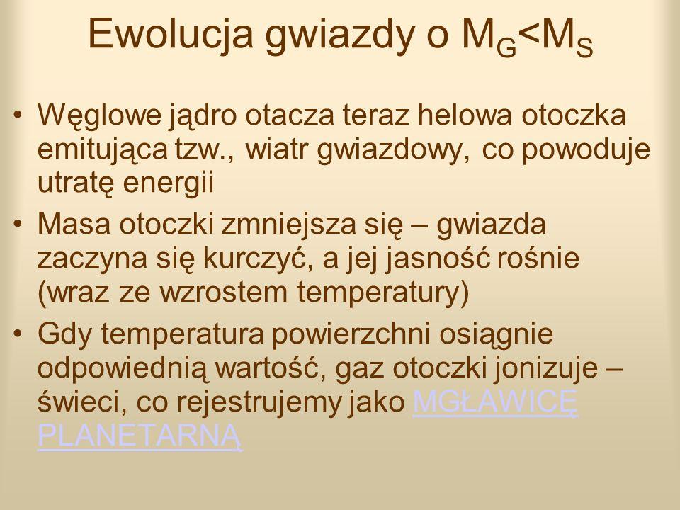 Ewolucja gwiazdy o M G <M S Węglowe jądro otacza teraz helowa otoczka emitująca tzw., wiatr gwiazdowy, co powoduje utratę energii Masa otoczki zmniejs