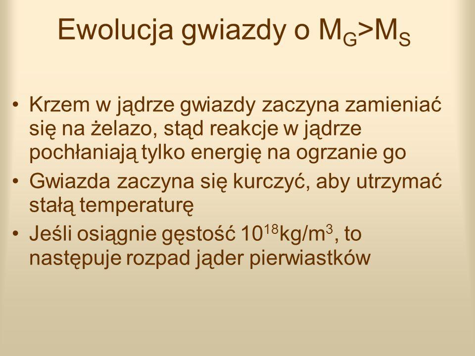 Ewolucja gwiazdy o M G >M S Krzem w jądrze gwiazdy zaczyna zamieniać się na żelazo, stąd reakcje w jądrze pochłaniają tylko energię na ogrzanie go Gwi