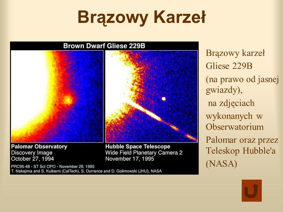 Brązowy Karzeł Brązowy karzeł Gliese 229B (na prawo od jasnej gwiazdy), na zdjęciach wykonanych w Obserwatorium Palomar oraz przez Teleskop Hubble'a (