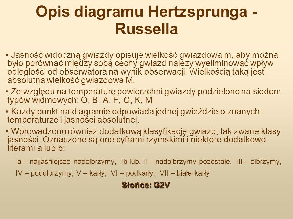 Opis diagramu Hertzsprunga - Russella Jasność widoczną gwiazdy opisuje wielkość gwiazdowa m, aby można było porównać między sobą cechy gwiazd należy w