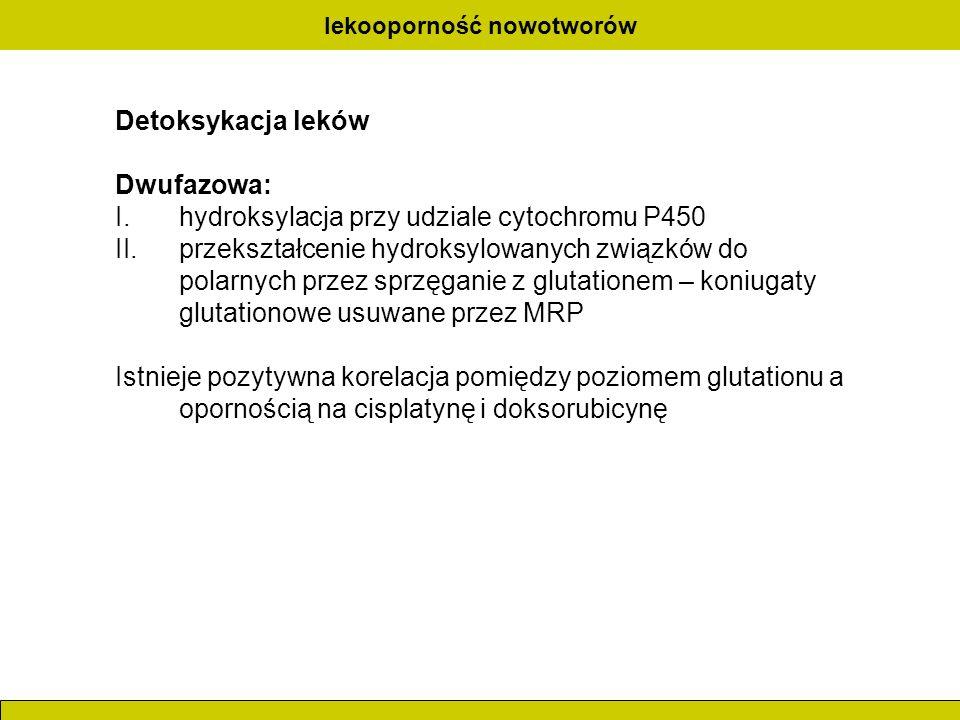 lekooporność nowotworów Detoksykacja leków Dwufazowa: I.hydroksylacja przy udziale cytochromu P450 II.przekształcenie hydroksylowanych związków do pol