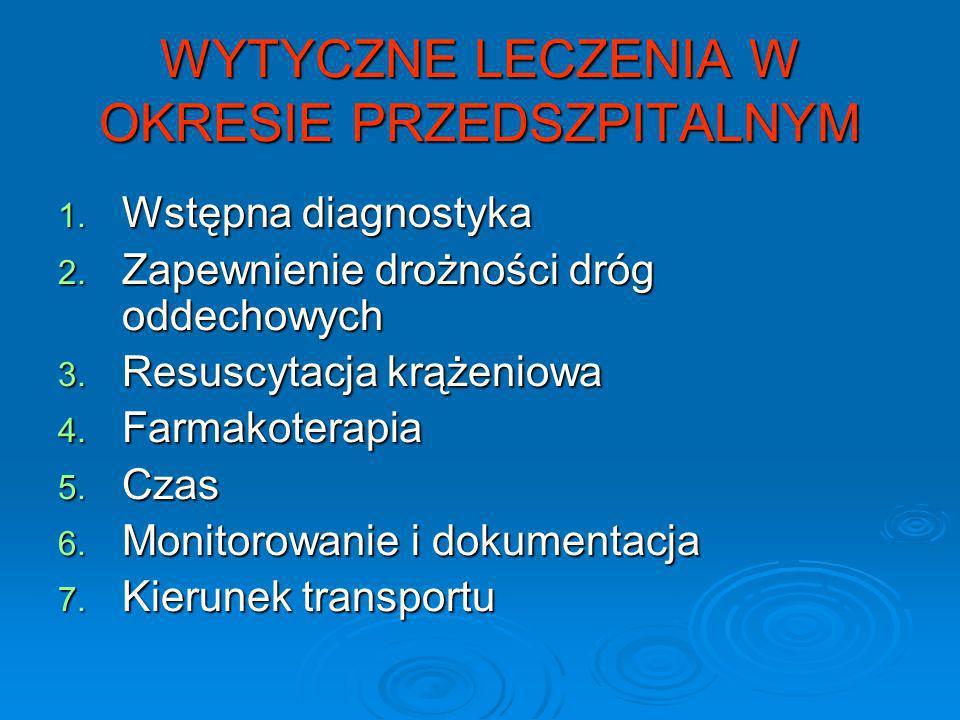 WYTYCZNE LECZENIA W OKRESIE PRZEDSZPITALNYM 1. Wstępna diagnostyka 2. Zapewnienie drożności dróg oddechowych 3. Resuscytacja krążeniowa 4. Farmakotera