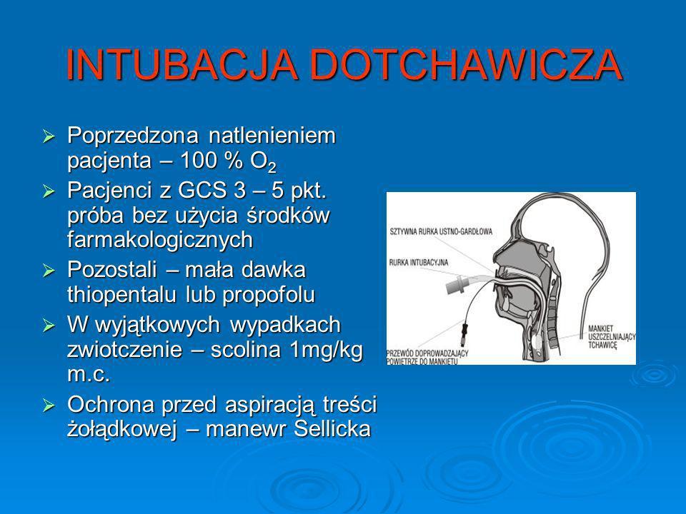 INTUBACJA DOTCHAWICZA Poprzedzona natlenieniem pacjenta – 100 % O 2 Poprzedzona natlenieniem pacjenta – 100 % O 2 Pacjenci z GCS 3 – 5 pkt. próba bez