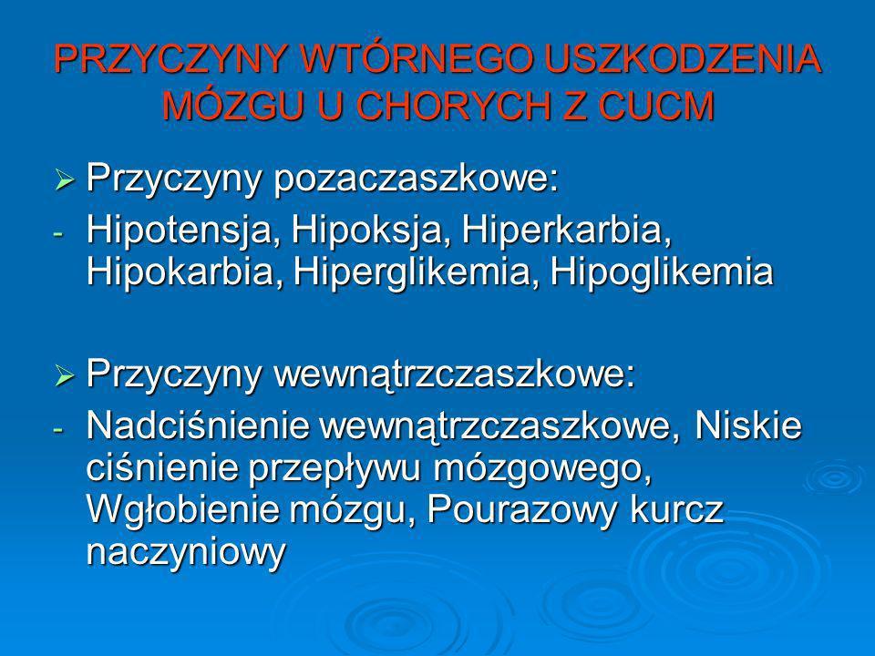 PRZYCZYNY WTÓRNEGO USZKODZENIA MÓZGU U CHORYCH Z CUCM Przyczyny pozaczaszkowe: Przyczyny pozaczaszkowe: - Hipotensja, Hipoksja, Hiperkarbia, Hipokarbi