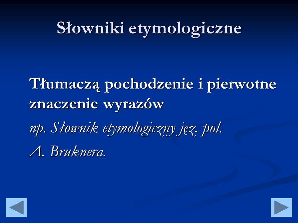 Słowniki wyrazów obcych Zawierają słownictwo zapożyczone z innych języków np.