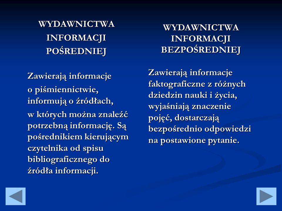 DO WYDAWNICTW INFORMACJI POŚREDNIEJ NALEŻĄ: Bibliografie Drukowane katalogi bibliotek Katalogi księgarskie i wydawnicze Wykazy nabytków Przeglądy