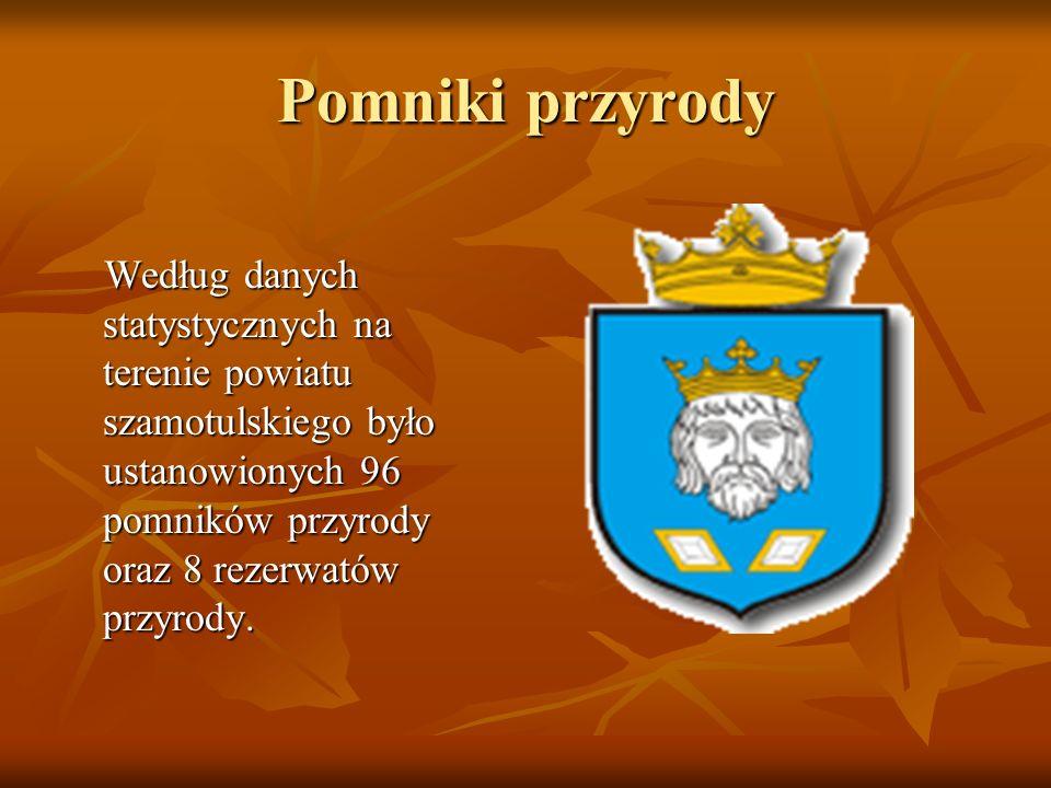 Pomniki przyrody Według danych statystycznych na terenie powiatu szamotulskiego było ustanowionych 96 pomników przyrody oraz 8 rezerwatów przyrody. We