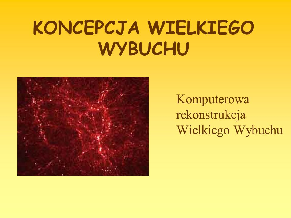 KONCEPCJA WIELKIEGO WYBUCHU Komputerowa rekonstrukcja Wielkiego Wybuchu