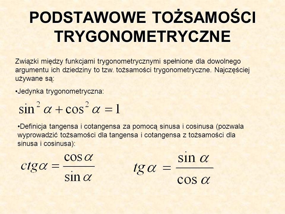 Definicja tangensa i cotangensa za pomocą sinusa i cosinusa (pozwala wyprowadzić tożsamości dla tangensa i cotangensa z tożsamości dla sinusa i cosinu