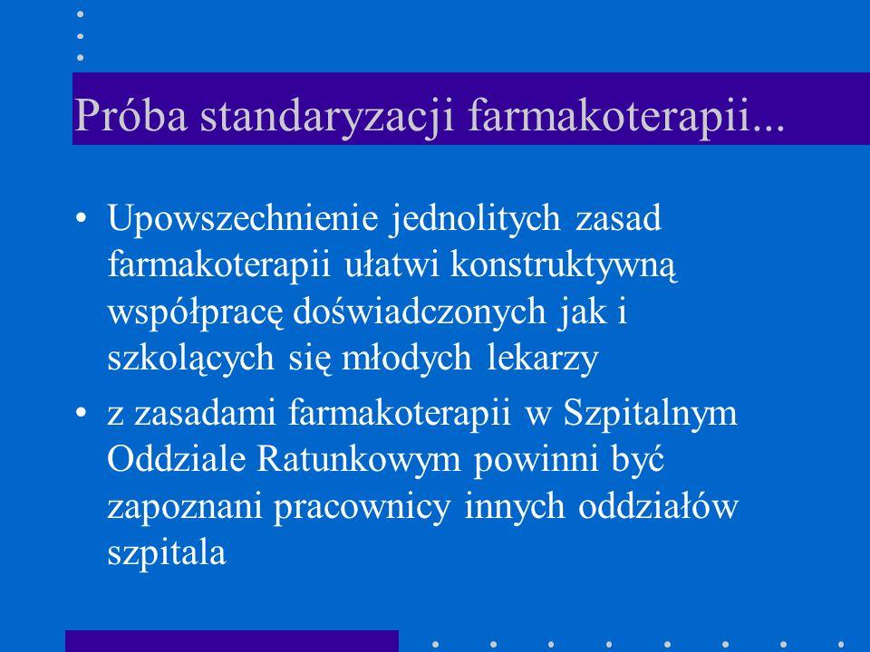 Próba standaryzacji farmakoterapii... Upowszechnienie jednolitych zasad farmakoterapii ułatwi konstruktywną współpracę doświadczonych jak i szkolących