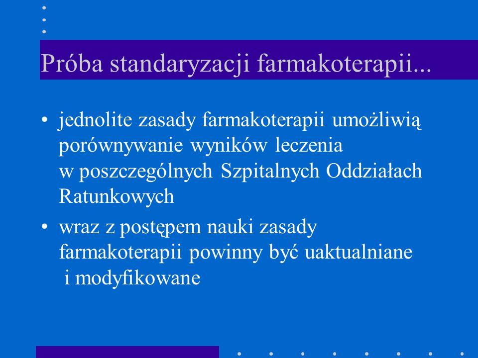 Próba standaryzacji farmakoterapii... jednolite zasady farmakoterapii umożliwią porównywanie wyników leczenia w poszczególnych Szpitalnych Oddziałach