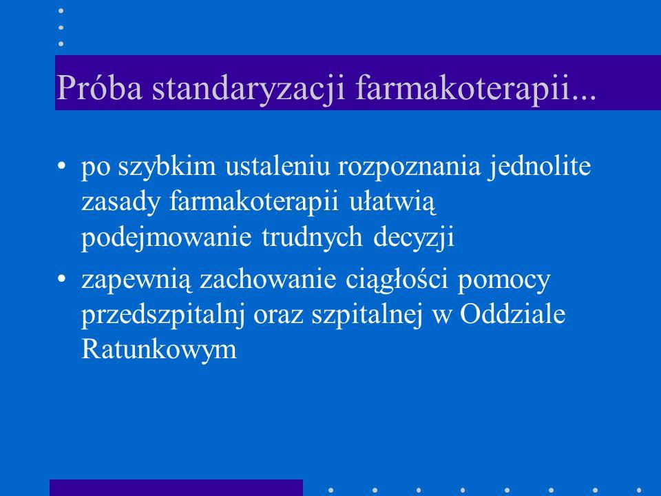 Próba standaryzacji farmakoterapii... po szybkim ustaleniu rozpoznania jednolite zasady farmakoterapii ułatwią podejmowanie trudnych decyzji zapewnią