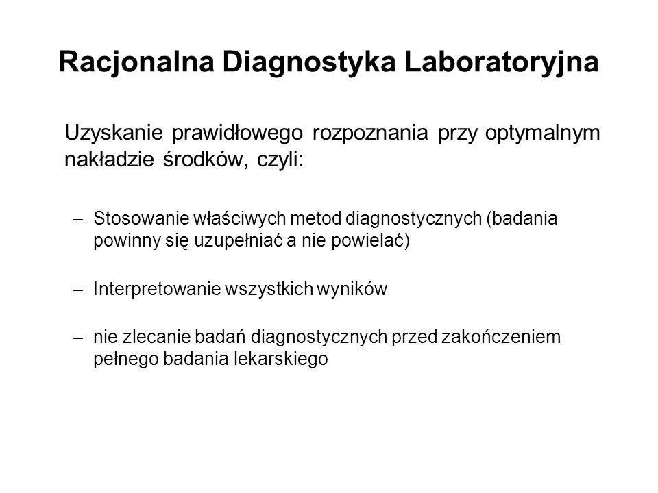 Racjonalna Diagnostyka Laboratoryjna Uzyskanie prawidłowego rozpoznania przy optymalnym nakładzie środków, czyli: –Stosowanie właściwych metod diagnostycznych (badania powinny się uzupełniać a nie powielać) –Interpretowanie wszystkich wyników –nie zlecanie badań diagnostycznych przed zakończeniem pełnego badania lekarskiego