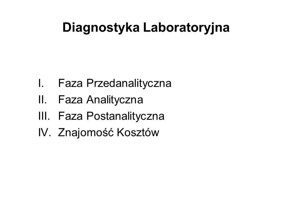 Diagnostyka Laboratoryjna I.Faza Przedanalityczna II.Faza Analityczna III.Faza Postanalityczna IV.Znajomość Kosztów
