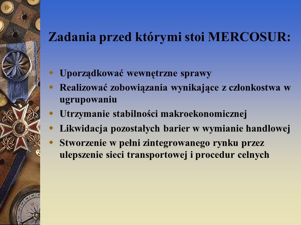 Zadania przed którymi stoi MERCOSUR: Uporządkować wewnętrzne sprawy Realizować zobowiązania wynikające z członkostwa w ugrupowaniu Utrzymanie stabilno