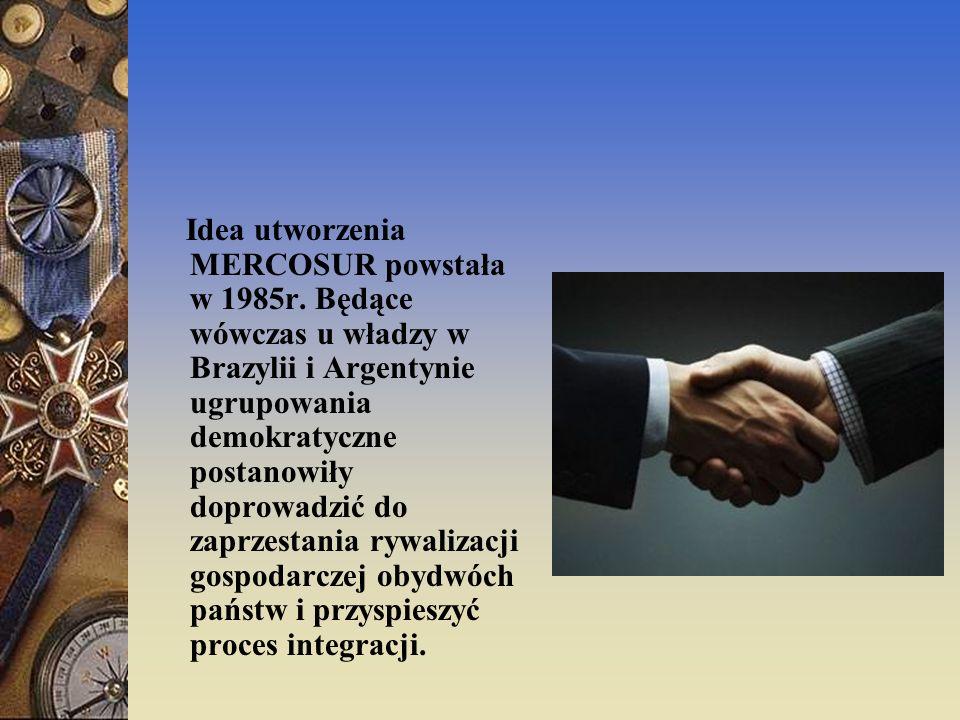 MERCOSUR Ta międzynarodowa organizacja powołana traktatem z Asuncjon (Paragwaj), podpisana została w 1991r.
