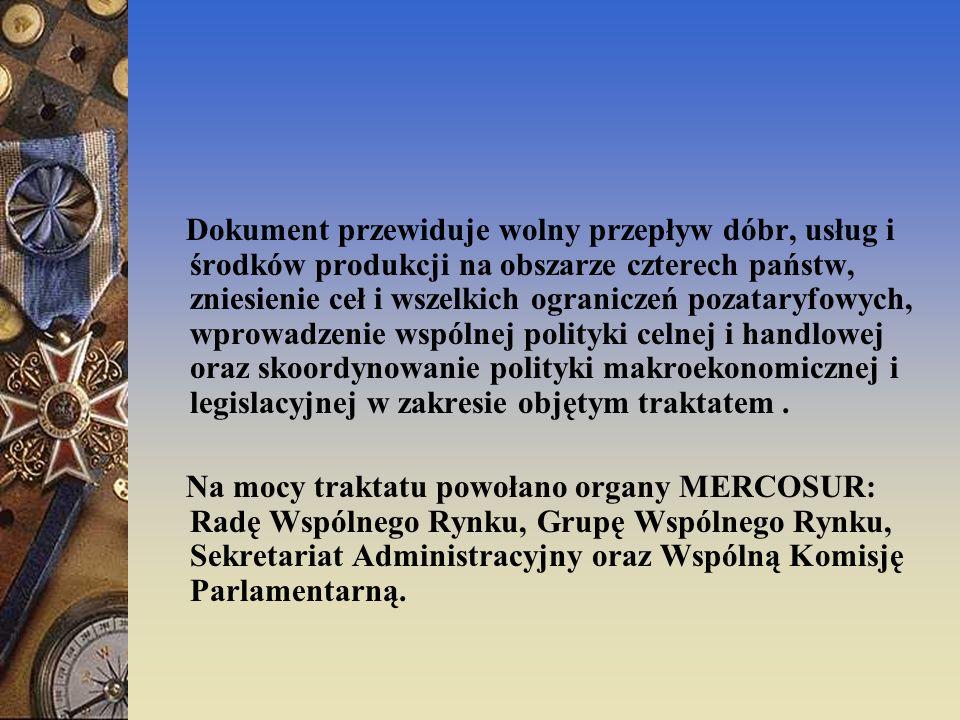 Z dniem 1 stycznia 1995r.MERCOSUR stał się unią celną.