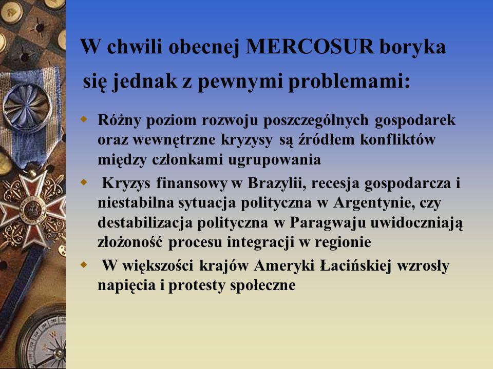 Zadania przed którymi stoi MERCOSUR: Uporządkować wewnętrzne sprawy Realizować zobowiązania wynikające z członkostwa w ugrupowaniu Utrzymanie stabilności makroekonomicznej Likwidacja pozostałych barier w wymianie handlowej Stworzenie w pełni zintegrowanego rynku przez ulepszenie sieci transportowej i procedur celnych