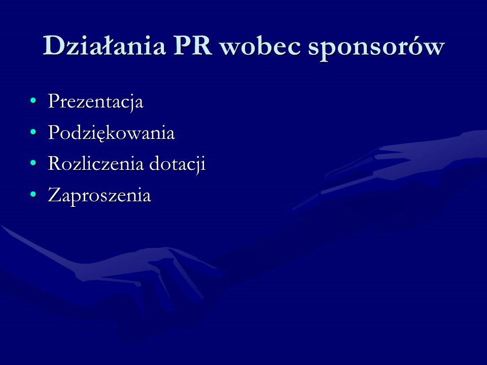 Działania PR wobec sponsorów PrezentacjaPrezentacja PodziękowaniaPodziękowania Rozliczenia dotacjiRozliczenia dotacji ZaproszeniaZaproszenia