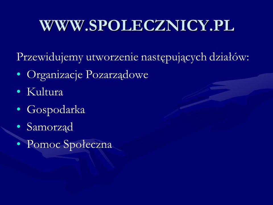 WWW.SPOLECZNICY.PL Przewidujemy utworzenie następujących działów: Organizacje Pozarządowe Kultura Gospodarka Samorząd Pomoc Społeczna