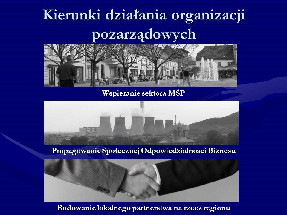 Kierunki działania organizacji pozarządowych Wspieranie sektora MŚP Propagowanie Społecznej Odpowiedzialności Biznesu Budowanie lokalnego partnerstwa na rzecz regionu