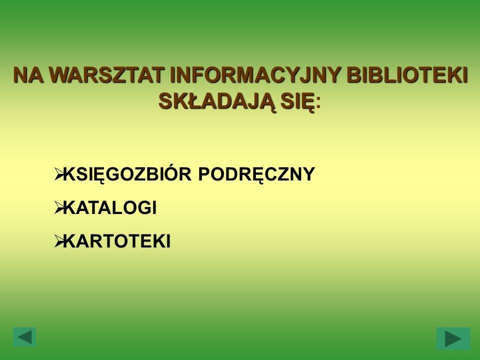 NA WARSZTAT INFORMACYJNY BIBLIOTEKI SKŁADAJĄ SIĘ NA WARSZTAT INFORMACYJNY BIBLIOTEKI SKŁADAJĄ SIĘ: KSIĘGOZBIÓR PODRĘCZNY KATALOGI KARTOTEKI