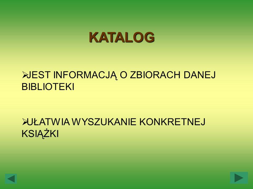 KATALOGI (PODSTAWOWE) Katalog alfabetyczny Katalog alfabetyczny - karty katalogowe są w nim ułożone w porządku alfabetycznym, według nazwisk autorów, a w przypadku pracy zbiorowej według pierwszych wyrazów tytułu.