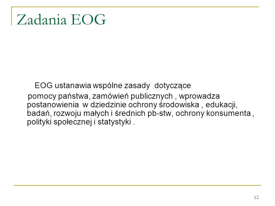 12 Zadania EOG EOG ustanawia wspólne zasady dotyczące pomocy państwa, zamówień publicznych, wprowadza postanowienia w dziedzinie ochrony środowiska, e