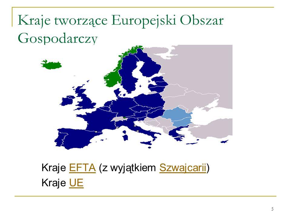 5 Kraje tworzące Europejski Obszar Gospodarczy Kraje EFTA (z wyjątkiem Szwajcarii)EFTASzwajcarii Kraje UEUE