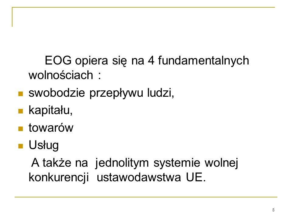 8 EOG opiera się na 4 fundamentalnych wolnościach : swobodzie przepływu ludzi, kapitału, towarów Usług A także na jednolitym systemie wolnej konkurenc