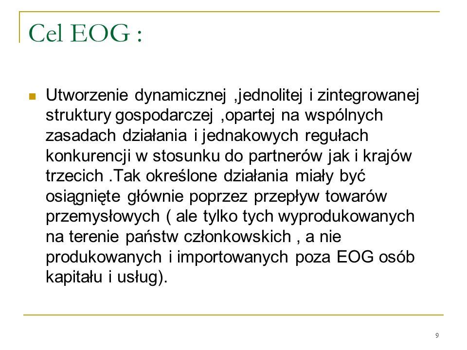 9 Cel EOG : Utworzenie dynamicznej,jednolitej i zintegrowanej struktury gospodarczej,opartej na wspólnych zasadach działania i jednakowych regułach ko