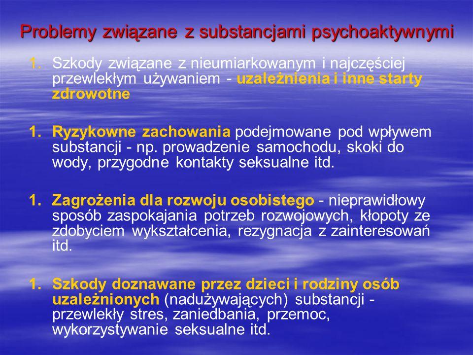 Problemy związane z substancjami psychoaktywnymi 1. 1.Szkody związane z nieumiarkowanym i najczęściej przewlekłym używaniem - uzależnienia i inne star