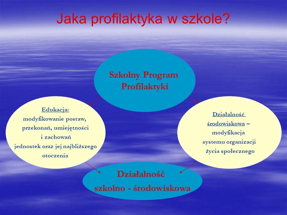 Jaka profilaktyka w szkole? Szkolny Program Profilaktyki Edukacja: modyfikowanie postaw, przekonań, umiejętności i zachowań jednostek oraz jej najbliż