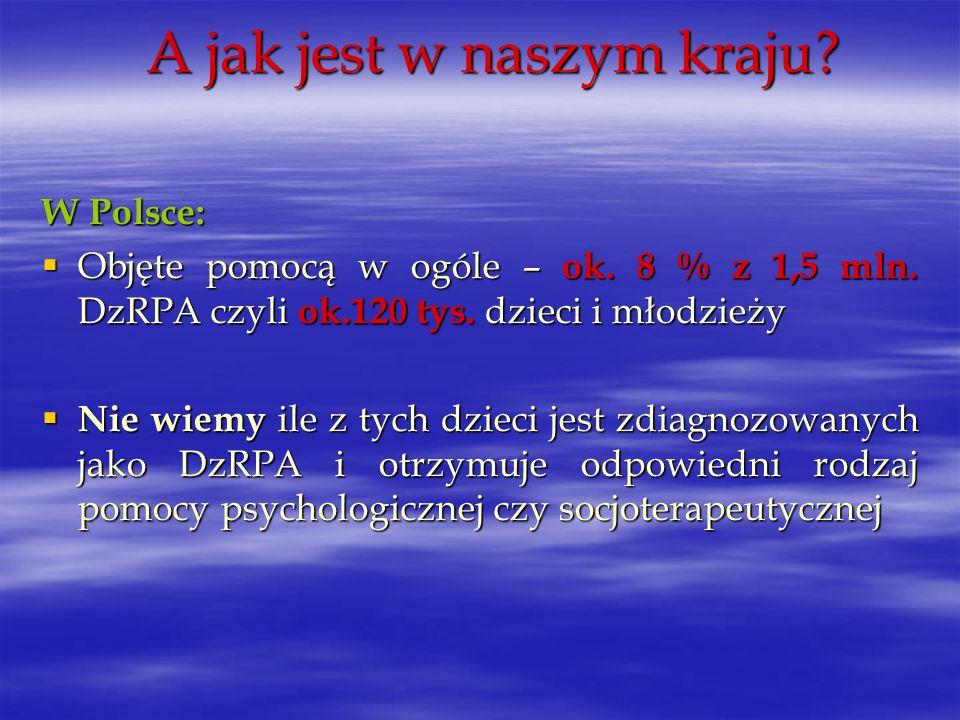 A jak jest w naszym kraju? W Polsce: Objęte pomocą w ogóle – ok. 8 % z 1,5 mln. DzRPA czyli ok.120 tys. dzieci i młodzieży Objęte pomocą w ogóle – ok.